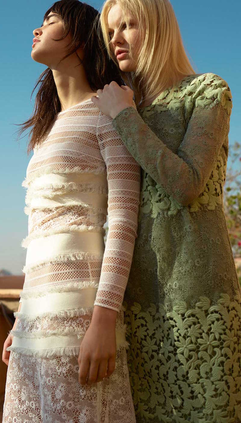 Burberry Prorsum Long-sleeved Multi Macramé-lace Dress