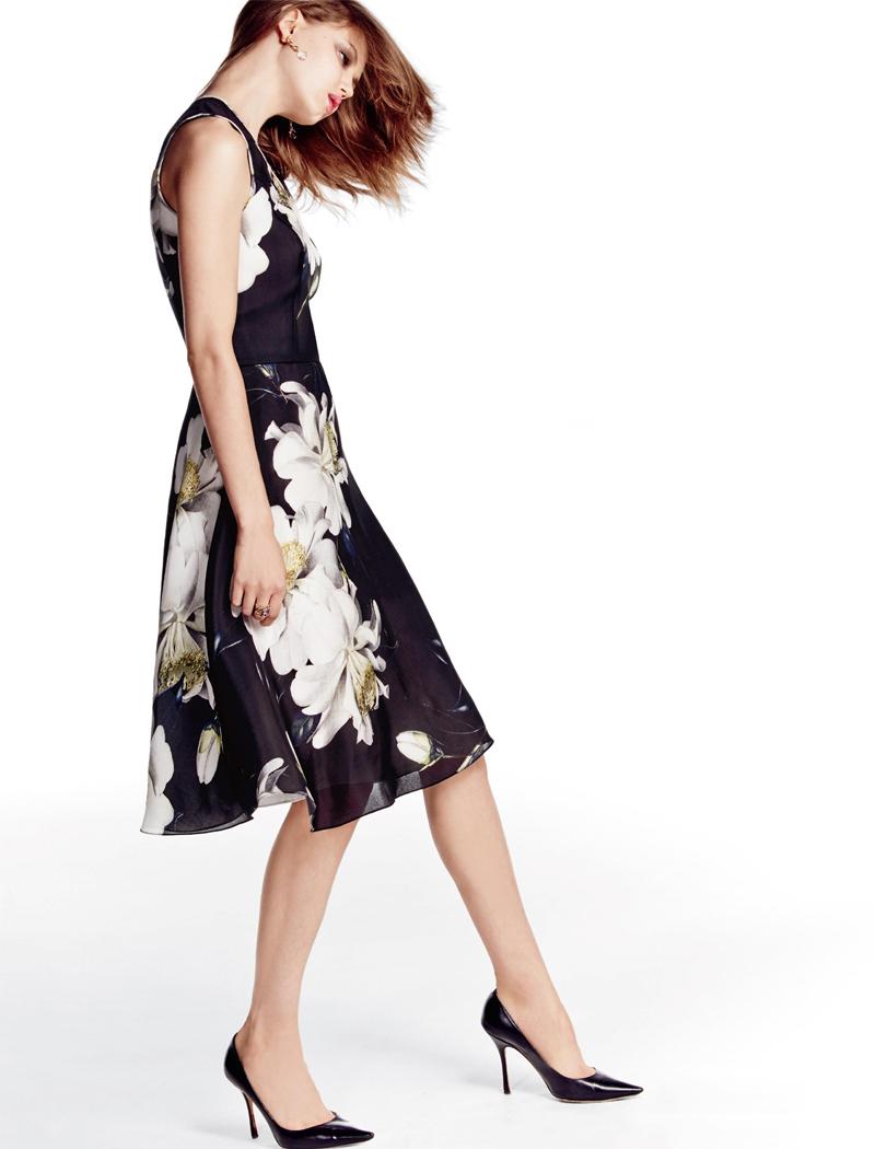 Carolina Herrera Gardenia Gazaar Silk Cocktail Dress