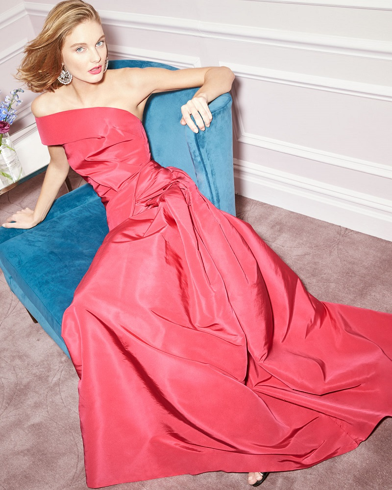 Carolina Herrera One-Shoulder Pleated Gown