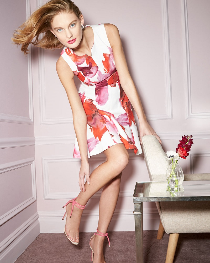 Carolina Herrera Sleeveless Floral-Print Fit-&-Flare Dress