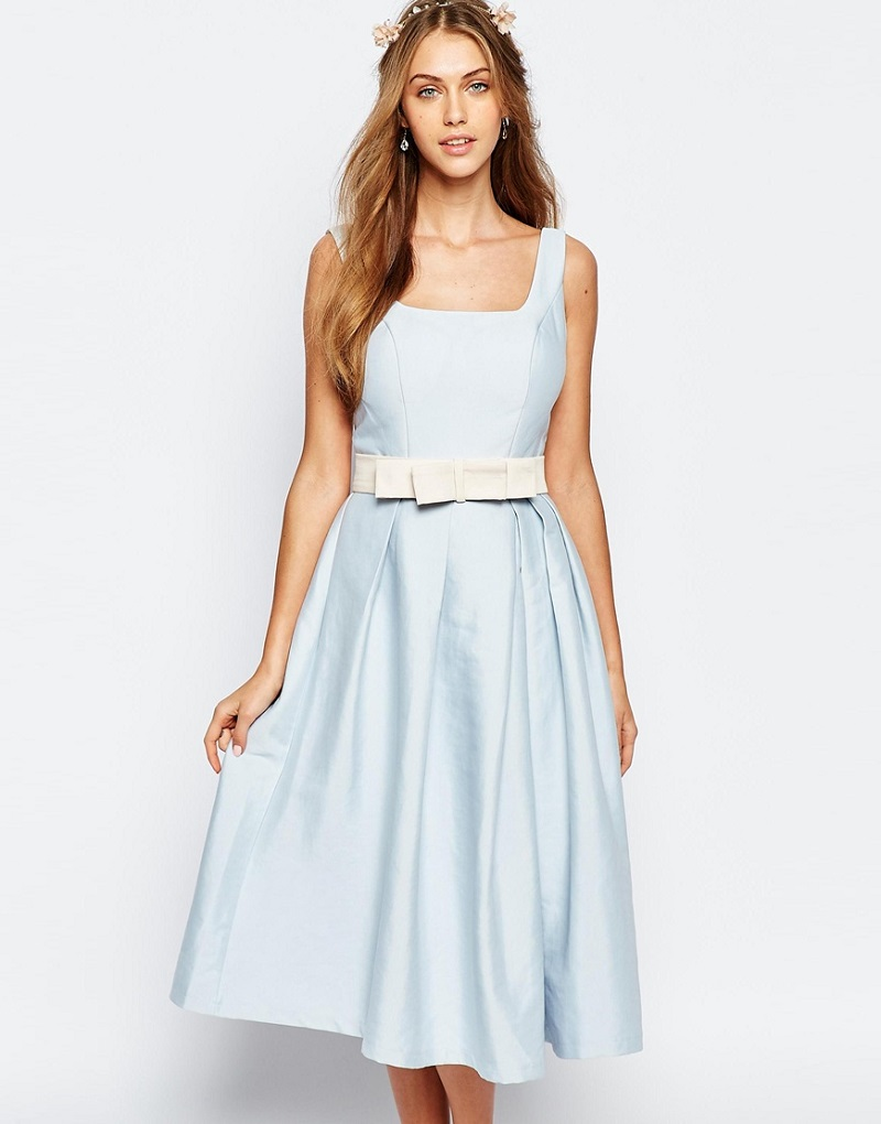 Chi Chi London Round Neck Midi Prom Dress with Box Pleats