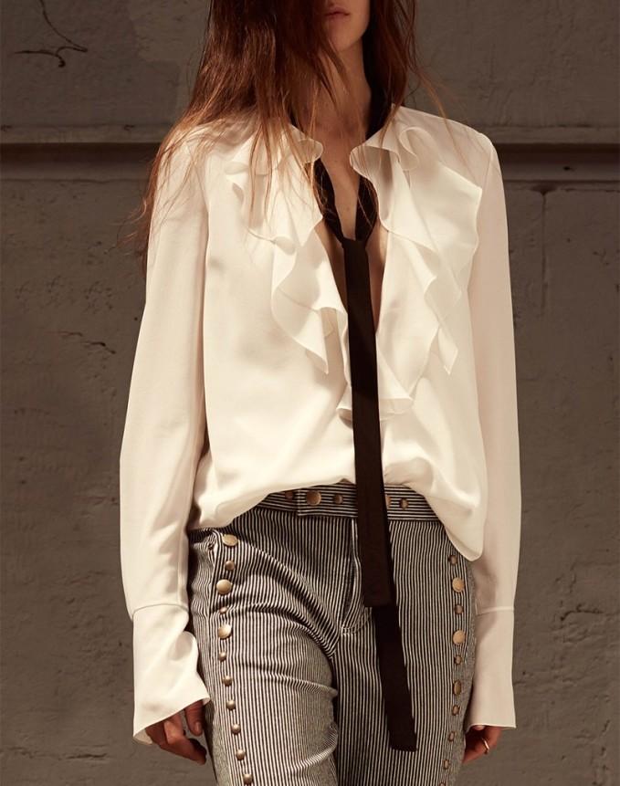 Chloé Ruffle neck long sleeved silk blouse-