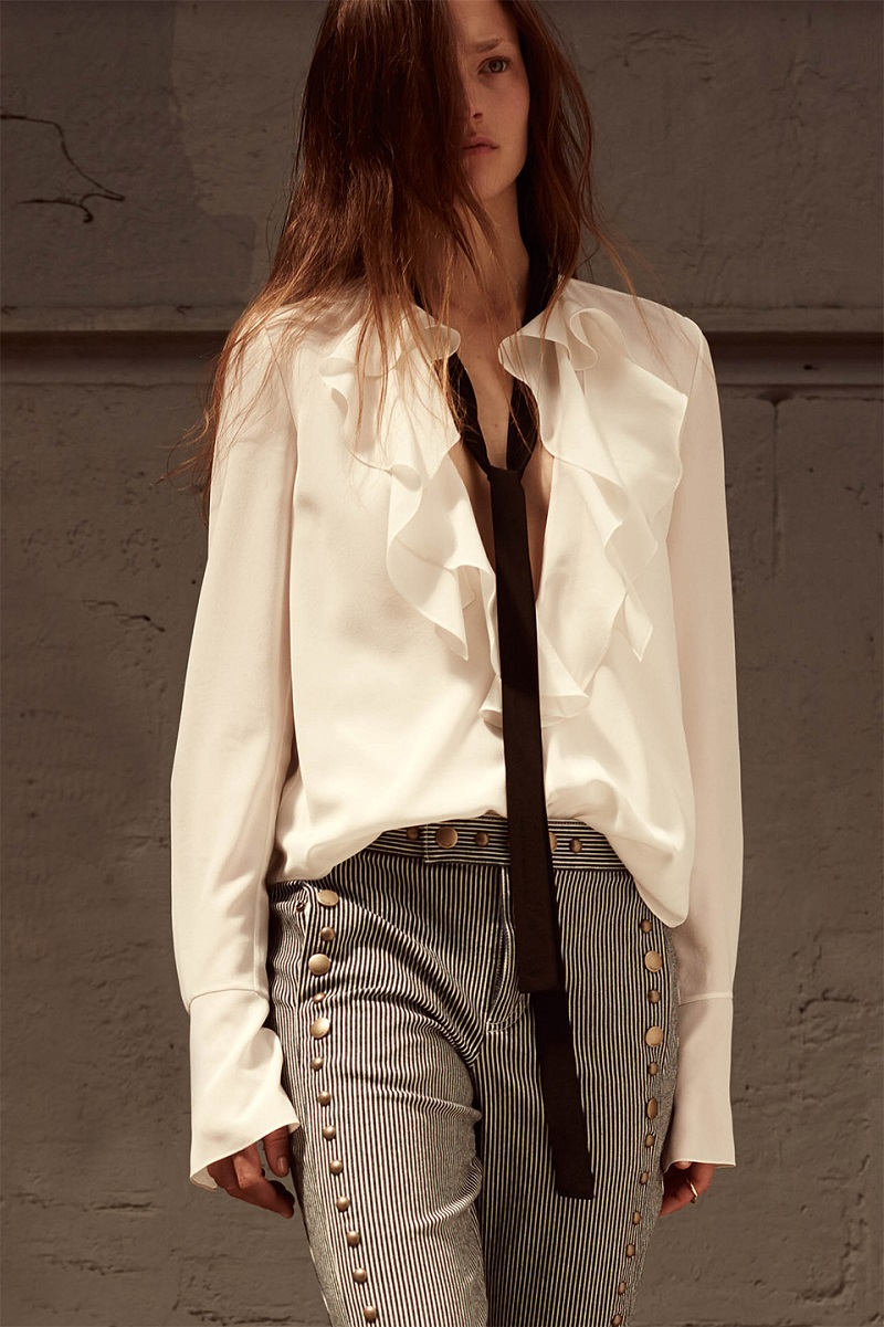 Chloé Ruffle-neck long-sleeved silk blouse