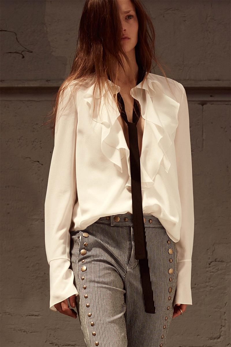 Chloé Ruffle-neck long-sleeved silk blouse