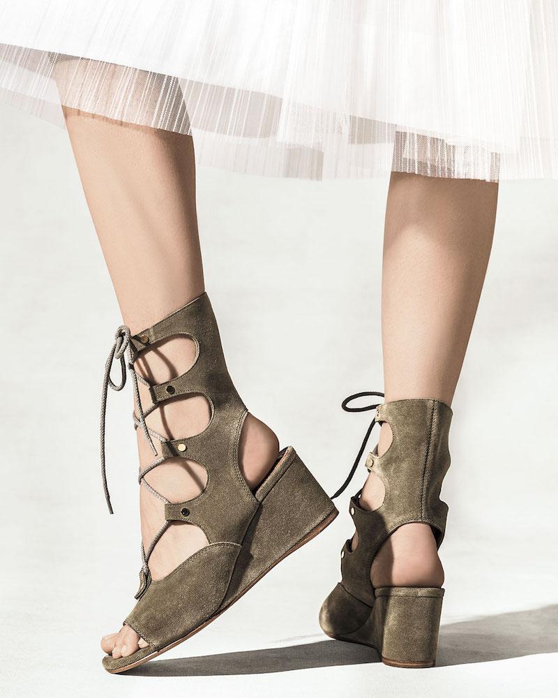 Chloé Suede Gladiator Wedge Sandal