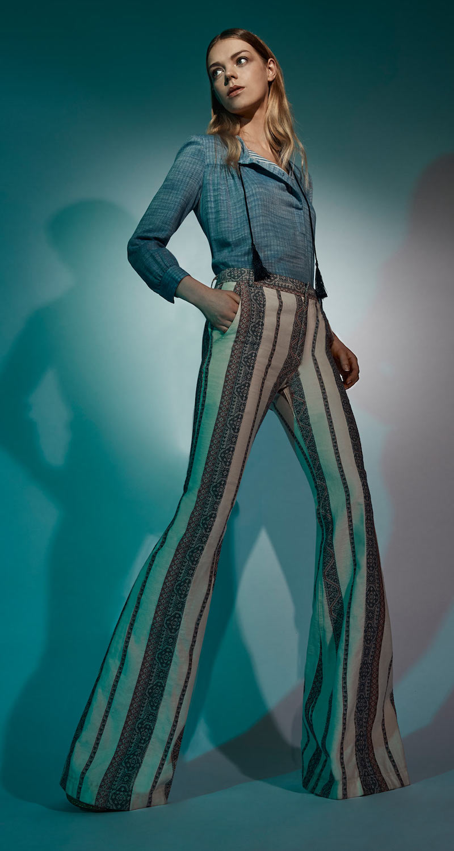 Derek Lam 10 Crosby Cotton Linen Patterned Flared Pants