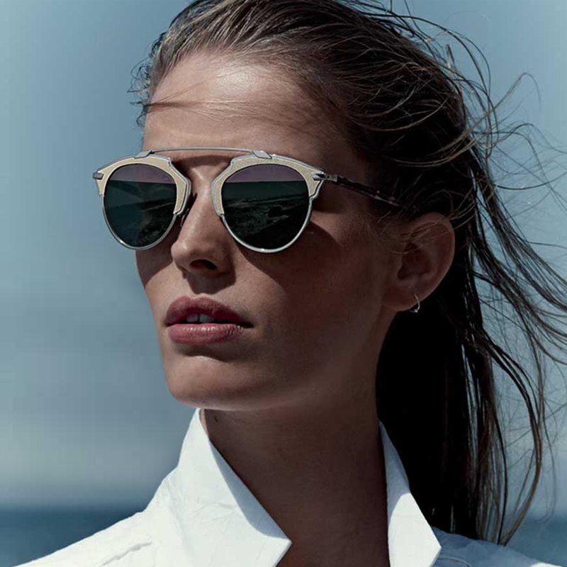 Dior So Real Leather-Trim Metal Sunglasses