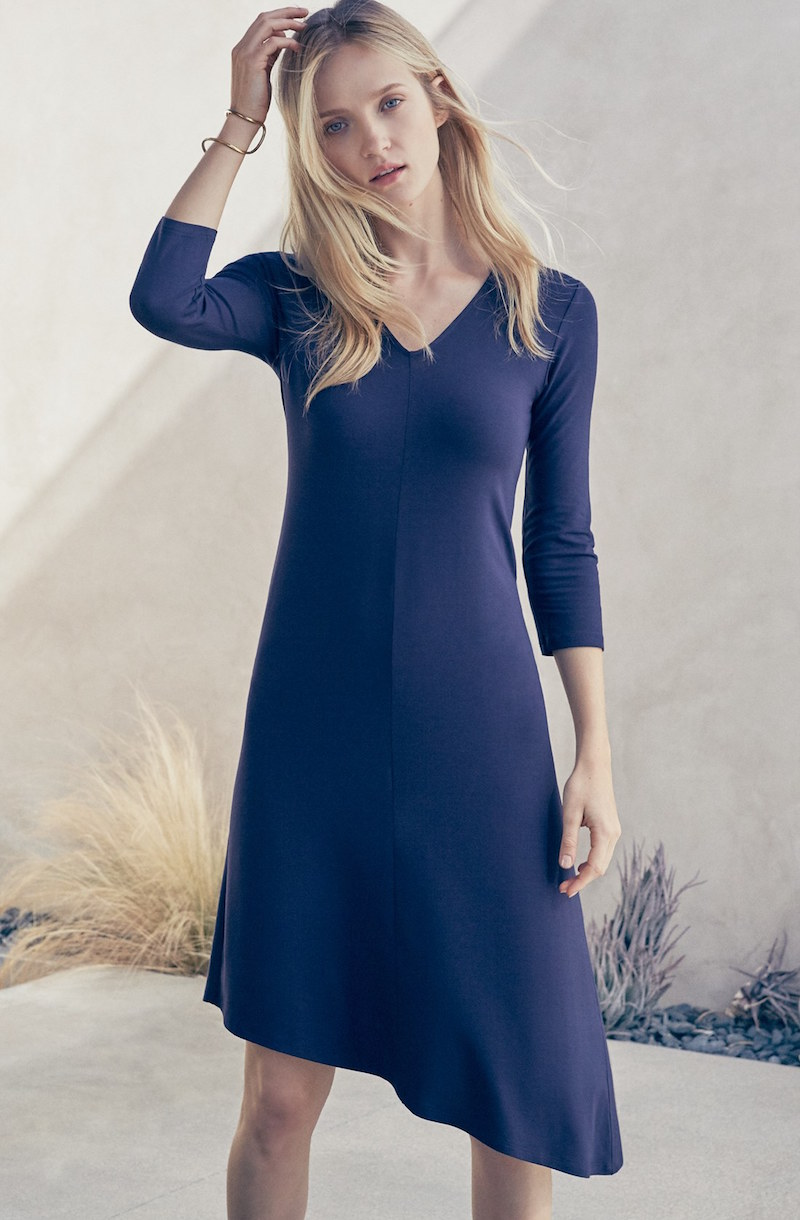 Eileen Fisher Deep V-Neck Jersey Asymmetrical Dress