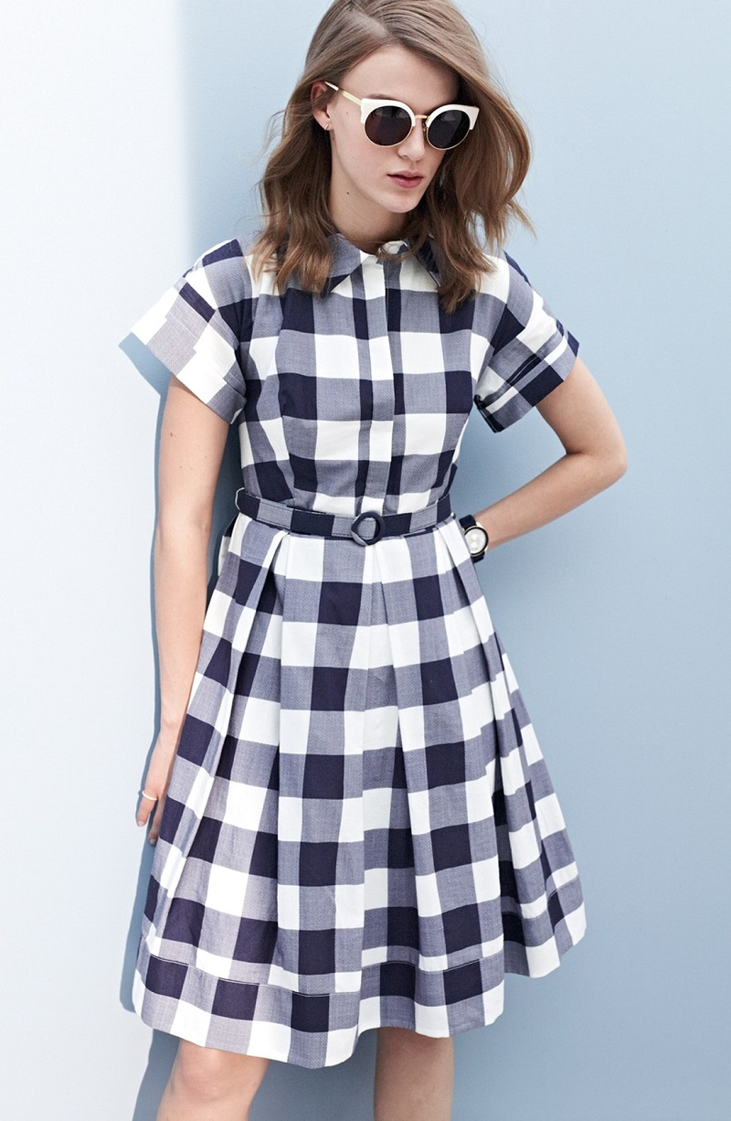 Eliza J Gingham Shirt Dress