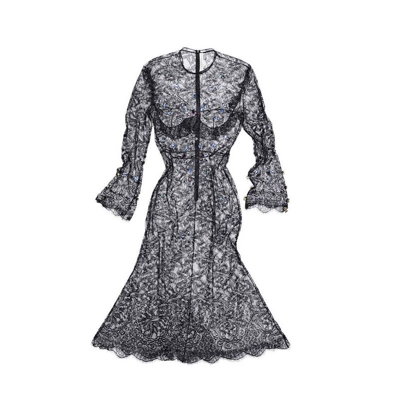 Francesco Scognamiglio Swarovski Crystals Lace Dress