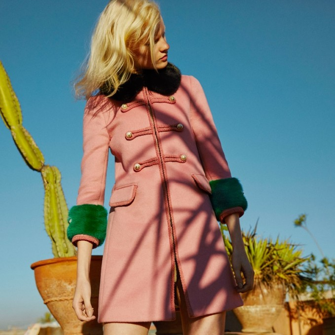 Gucci Wool Toggle Coat with Fur