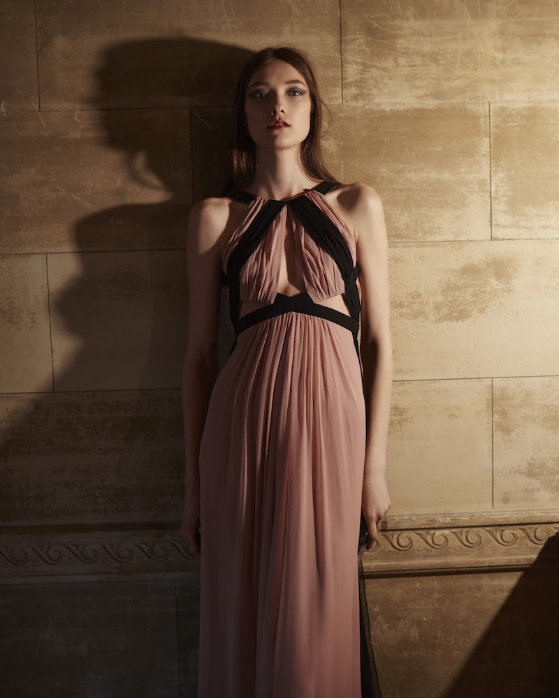 J. Mendel Gathered Chiffon Gown