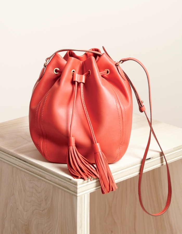 J.Crew Tassel‑Tie Bucket Bag In Smooth Leather