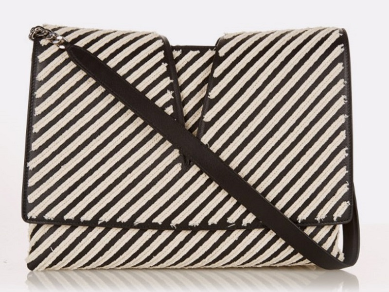 Jil Sander View canvas-striped leather shoulder bag