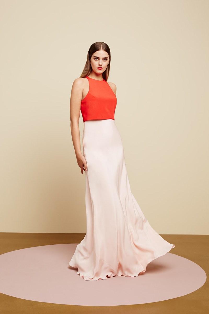 Jill Jill Stuart Colorblock Popover Crepe Gown