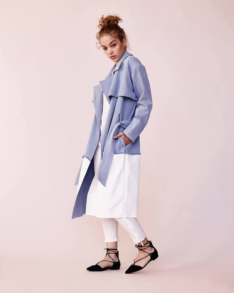 Kendall + Kylie Denim Trench Coat