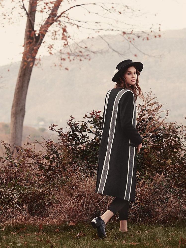 LAVEER Baja Striped Overcoat