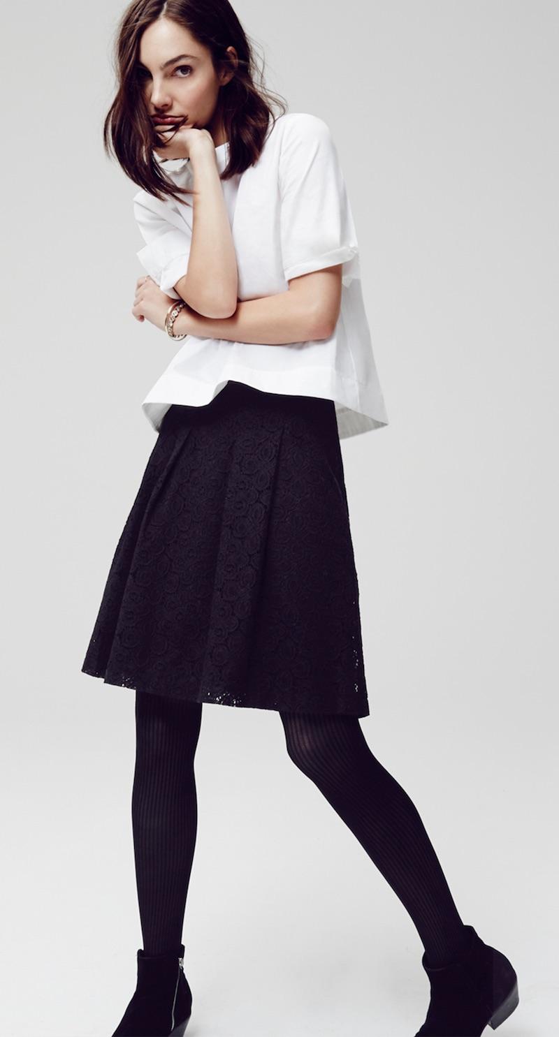 LOFT Pleated Lace Skirt