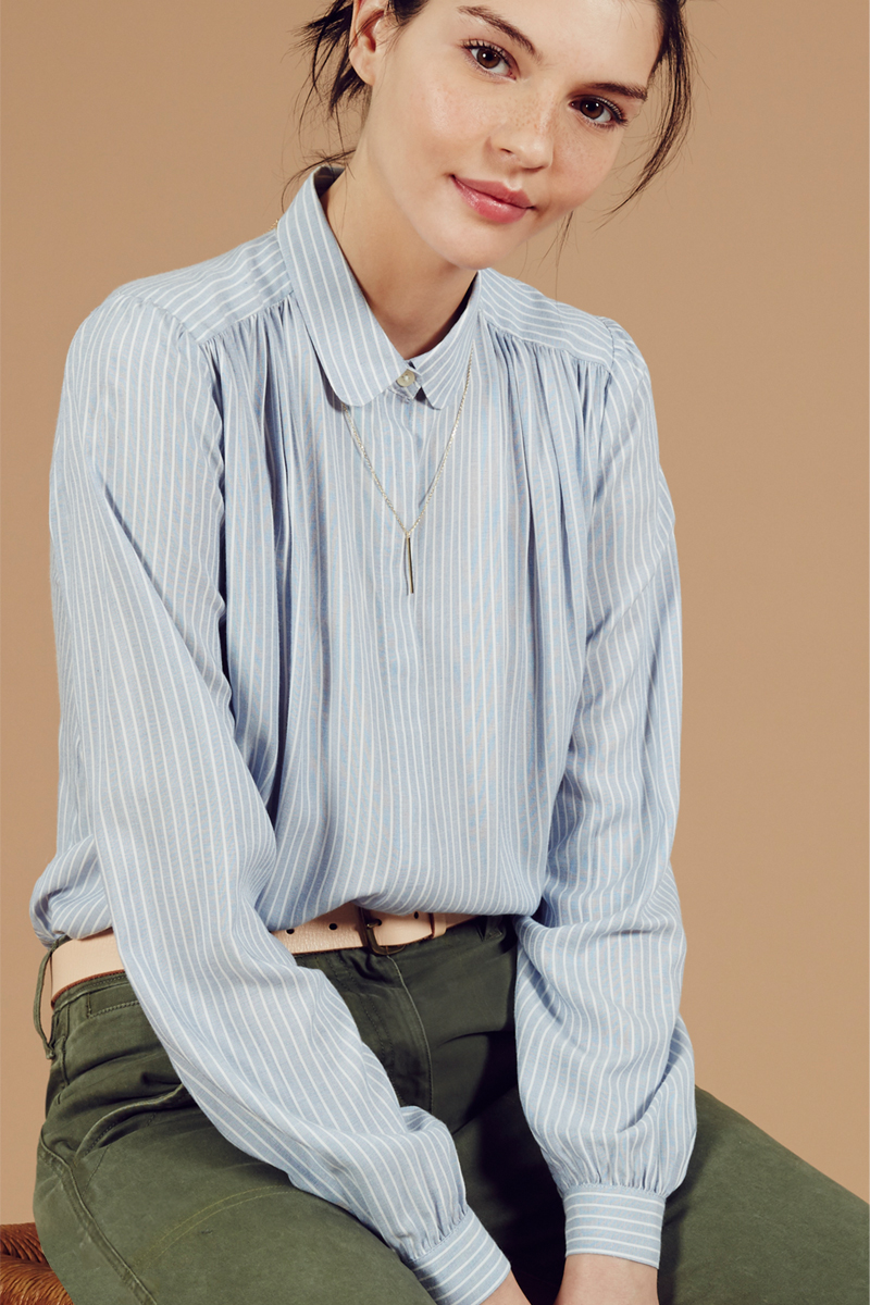 LOFT Stripe Shirred Blouse