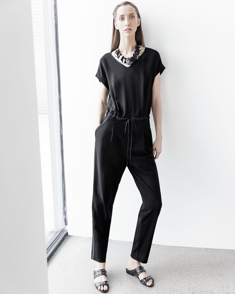 Lafayette 148 New York Columbia Drawstring-Waist Jumpsuit