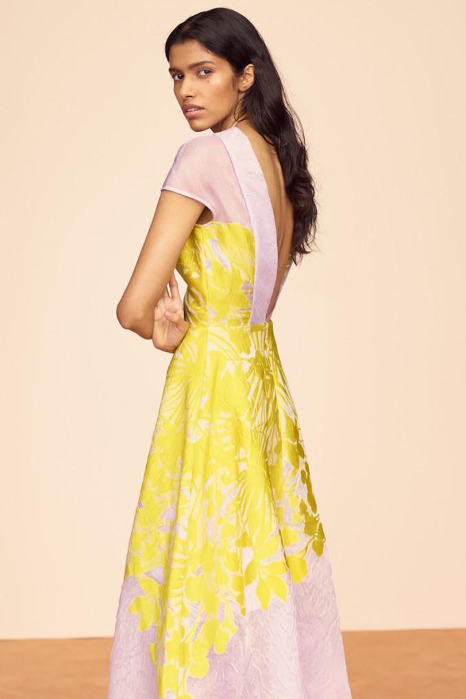 Lela Rose Floral Organza V-Back Dress