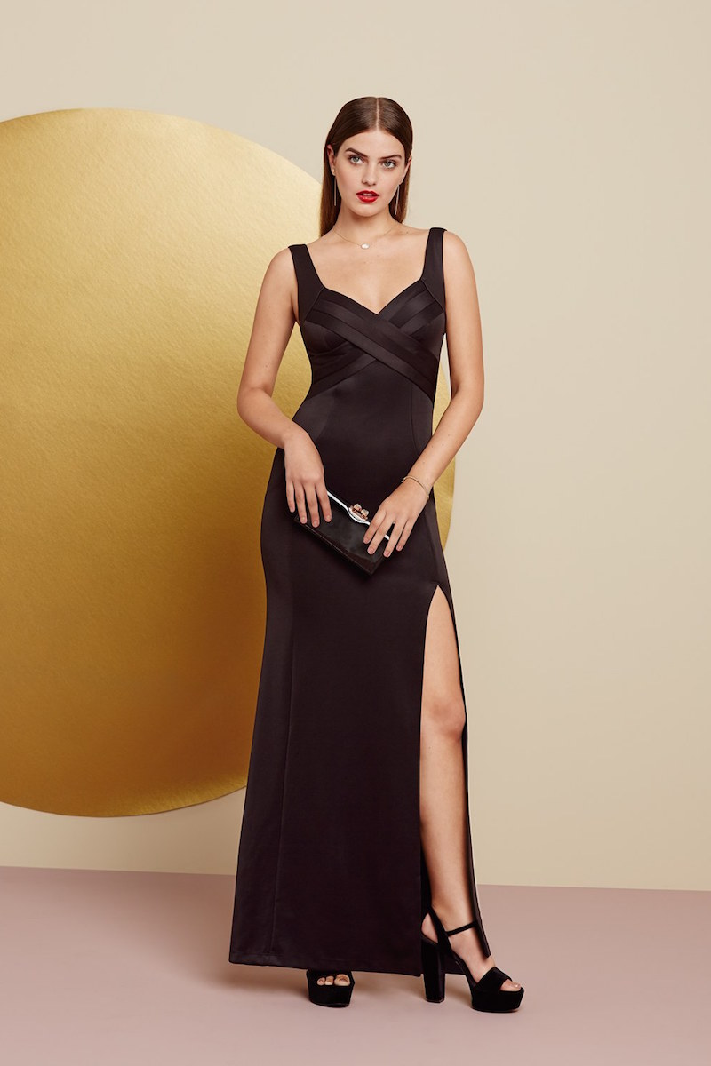 Love, Nickie Lew Crisscross Bodice Gown