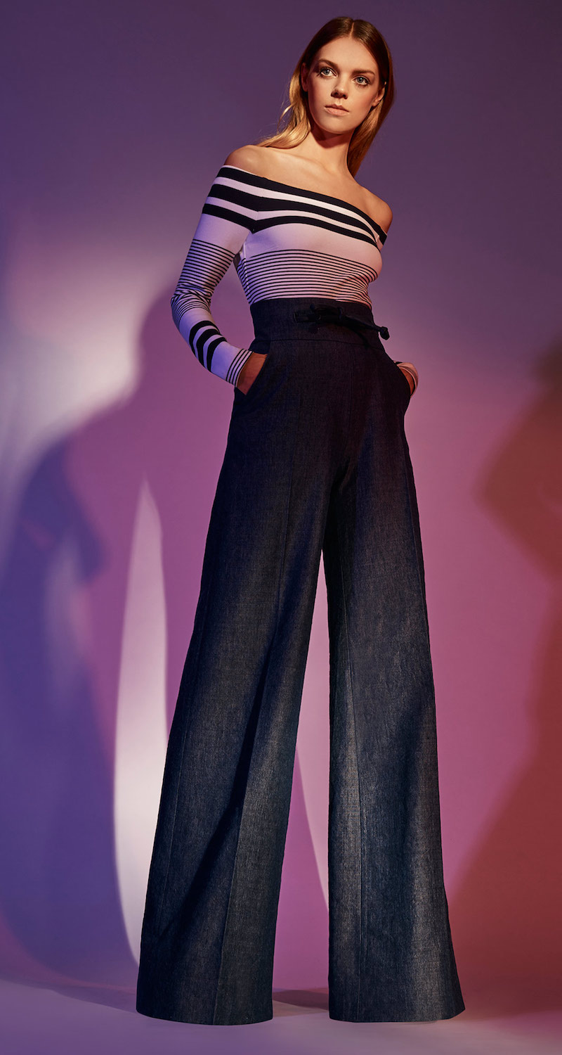 Martin Grant High Waisted Linen Wool Pants with Leather Detailing