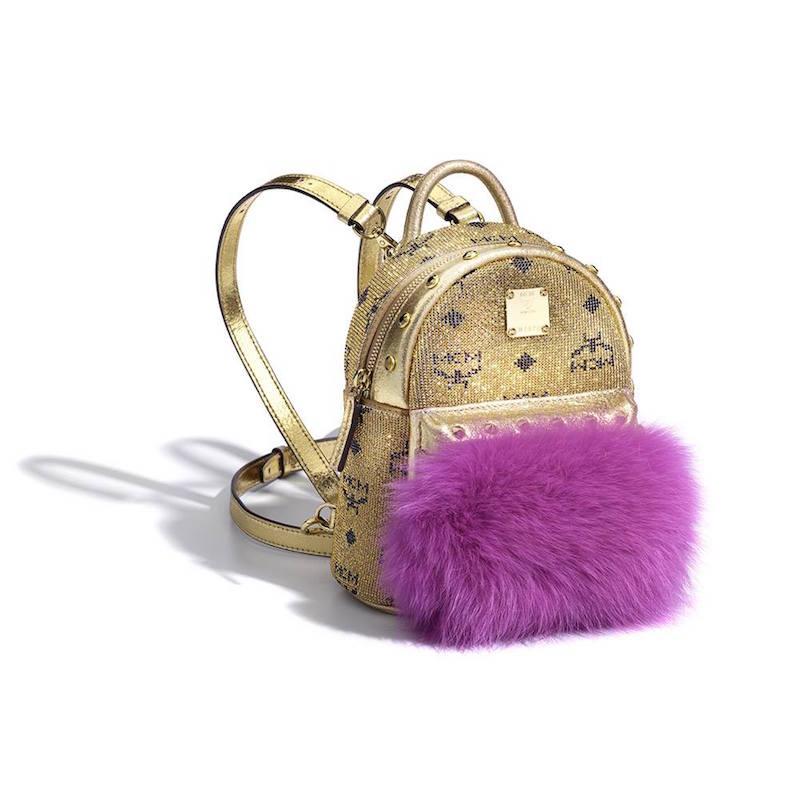 Mcm Swarovski Crystals Bebe Boo Backpack_Gold