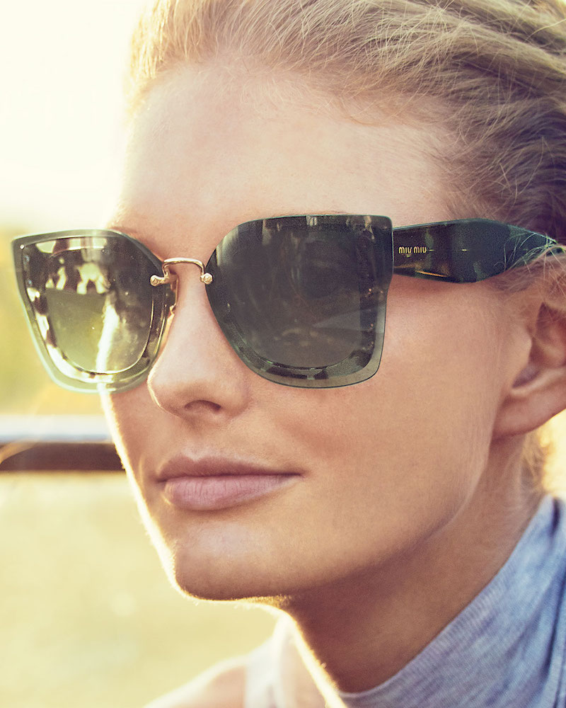 Miu Miu Square Butterfly Sunglasses with Overlay Lenses