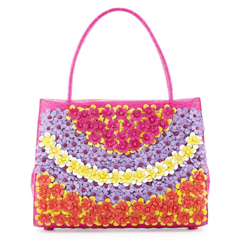 Nancy Gonzalez Wallis Medium Floral Crocodile Tote Bag