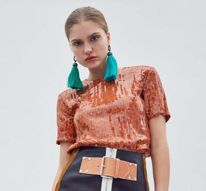Nina Ricci Copper Sequin Top