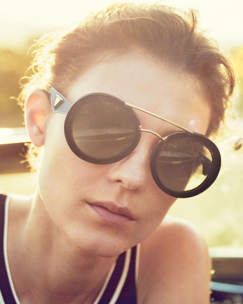 Prada Round Acetate Brow-Bar Sunglasses