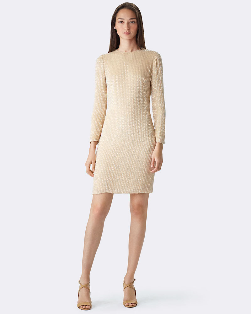 Ralph Lauren Long-Sleeve Embellished Cocktail Dress