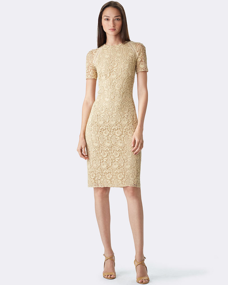 Ralph Lauren Short-Sleeve Floral-Guipure Lace Dress