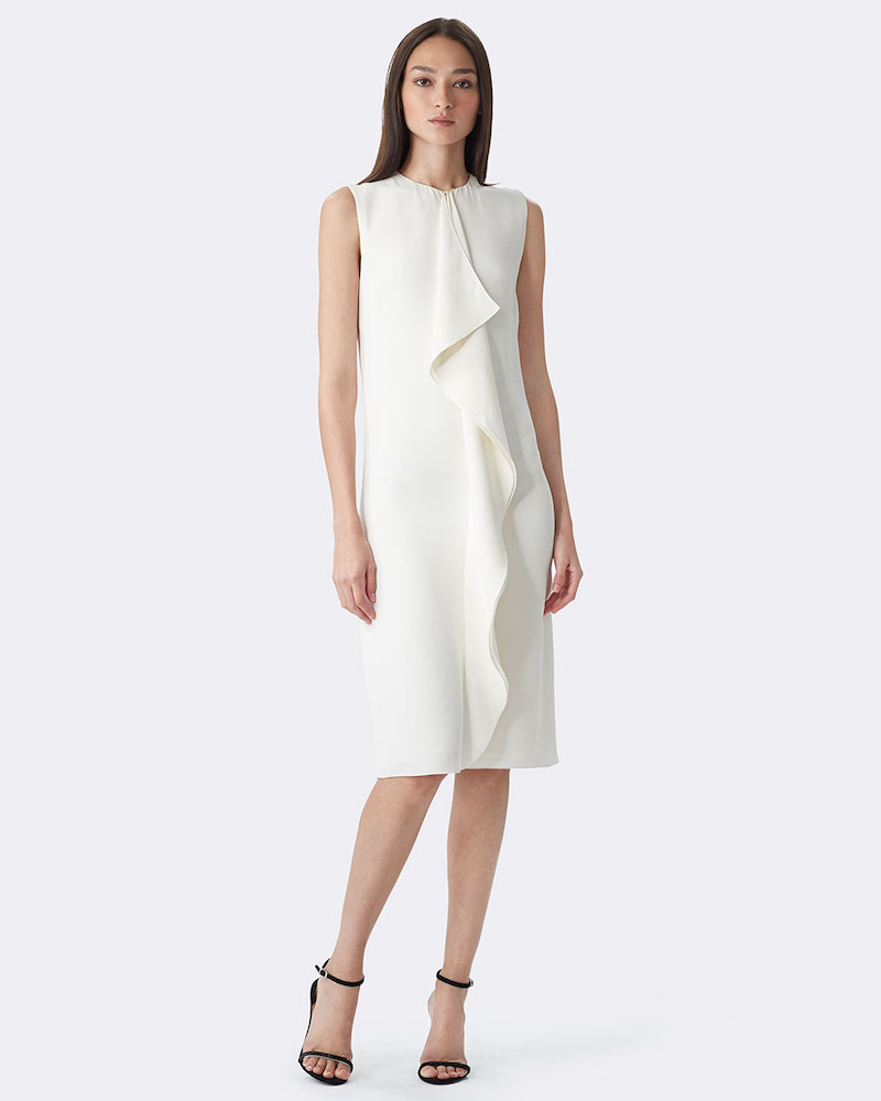 Ralph Lauren Sleeveless Ruffle-Front Sheath Dress