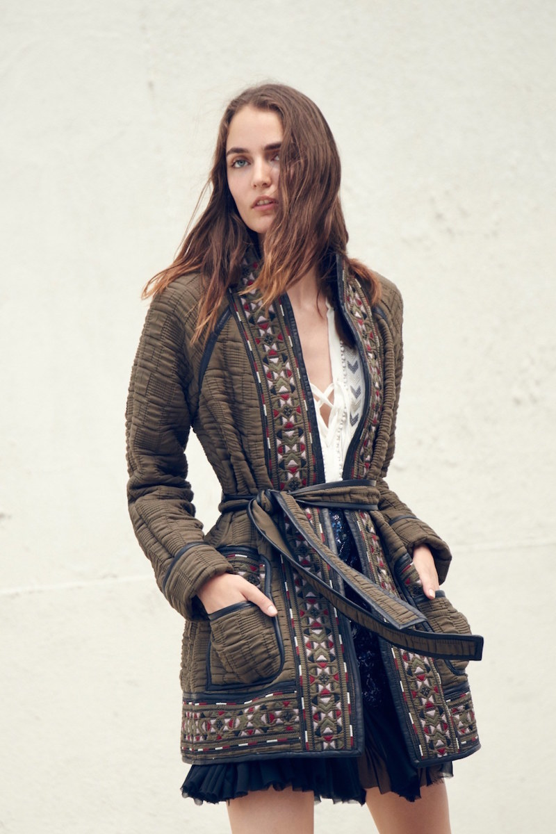 Rebecca Taylor Picktstitch Cotton Embroidered Coat