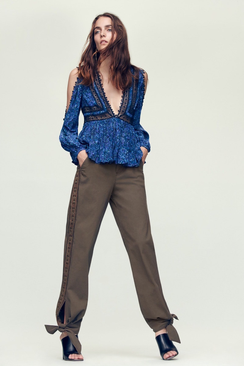 Rebecca Taylor Twill Embroidered Pant