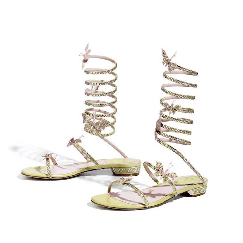 René Caovilla Swarovski Crystals 20mm Wrap Sandals