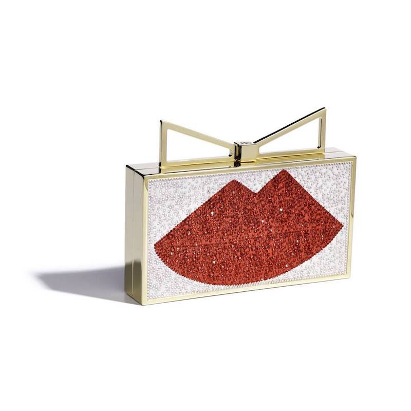 Sara Battaglia Swarovski Crystals Lips Satin Clutch
