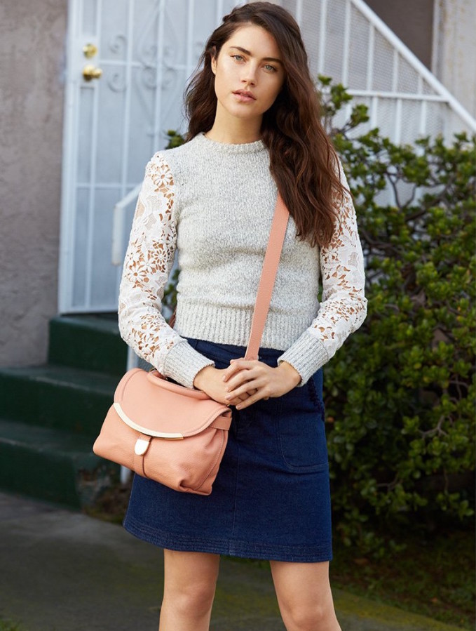 See By Chloé Pullover Sweater with Lace Sleeve Detail