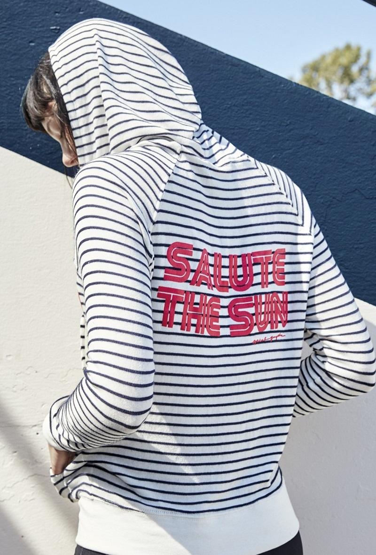 Spiritual Gangster Retro Salute Savasana Stripe Full Zip Hacci Hoodie