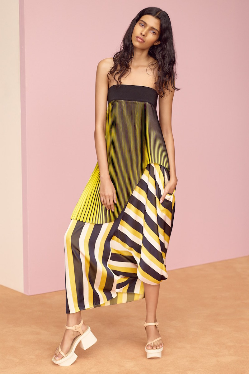 Stella McCartney Asymmetrical Strapless Pleated Top