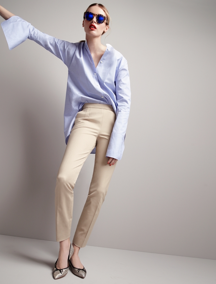 Thomas Mason For J.Crew Collarless Shirt