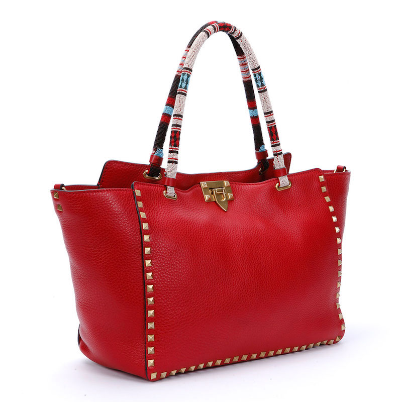 Valentino Medium Beaded-Handle Rockstud Tote Bag