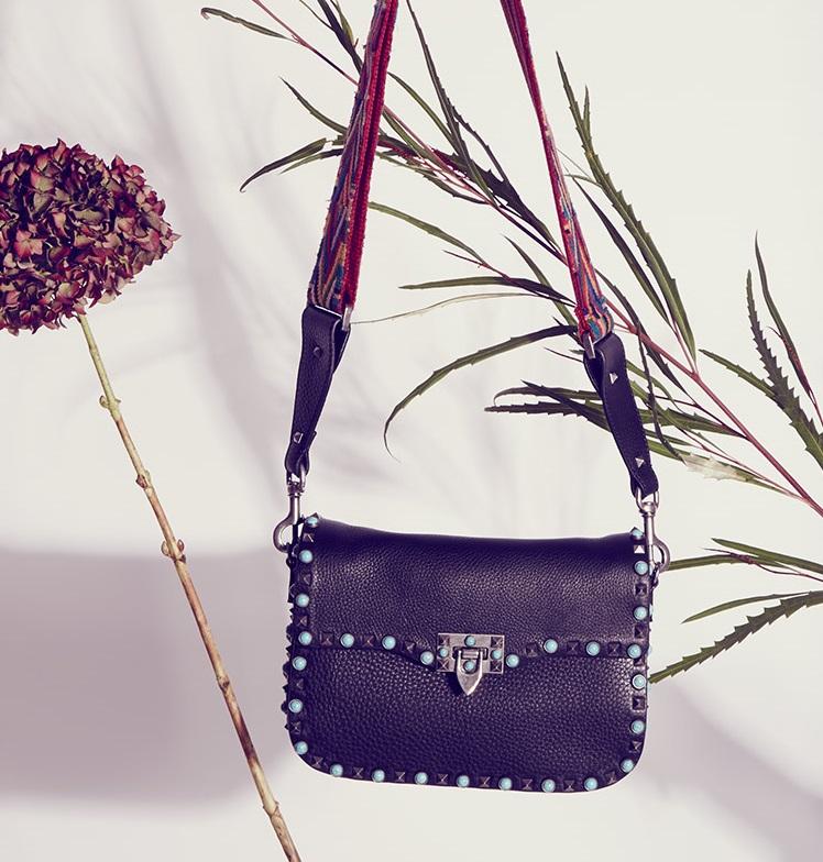 Valentino Rockstud turquoise-embellished leather bag