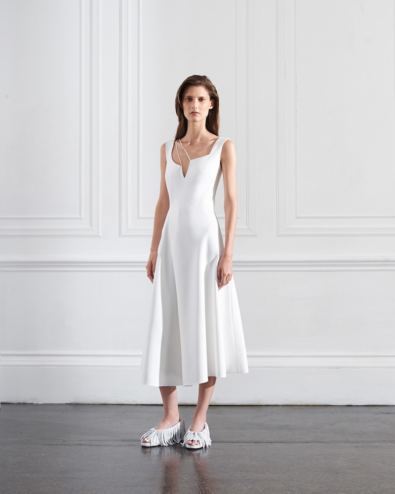 Victoria Beckham Asymmetric Cut Out Flare Midi Dress