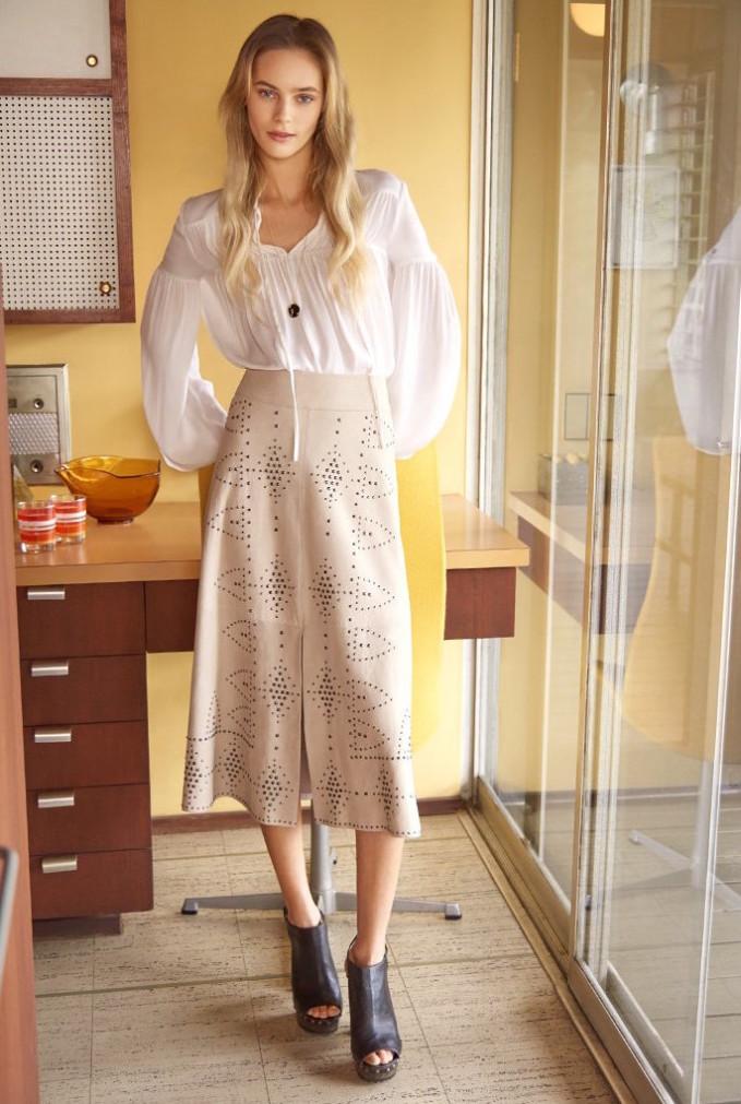 alice + olivia Giselle Studded Suede Skirt