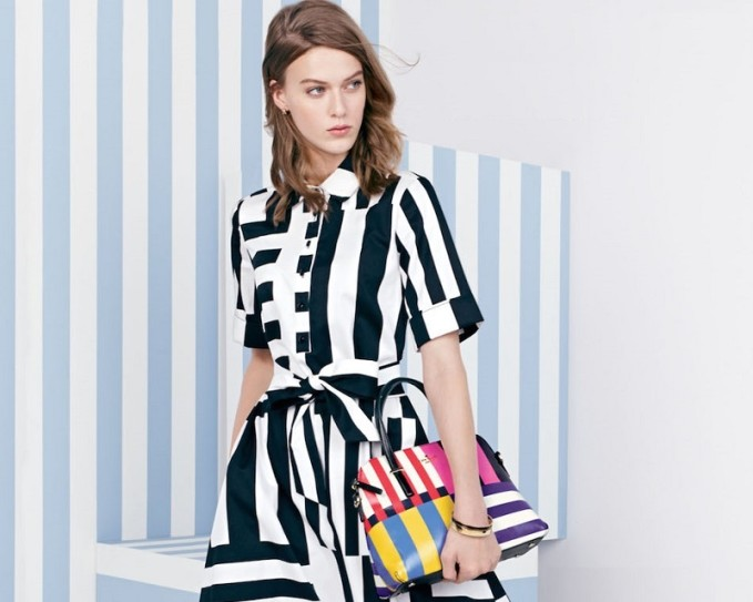 kate spade new york monochrome stripe shirtdress -