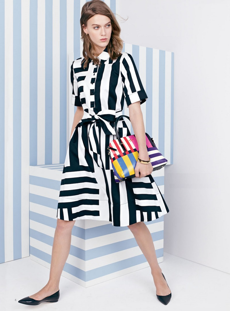 kate spade new york monochrome stripe shirtdress