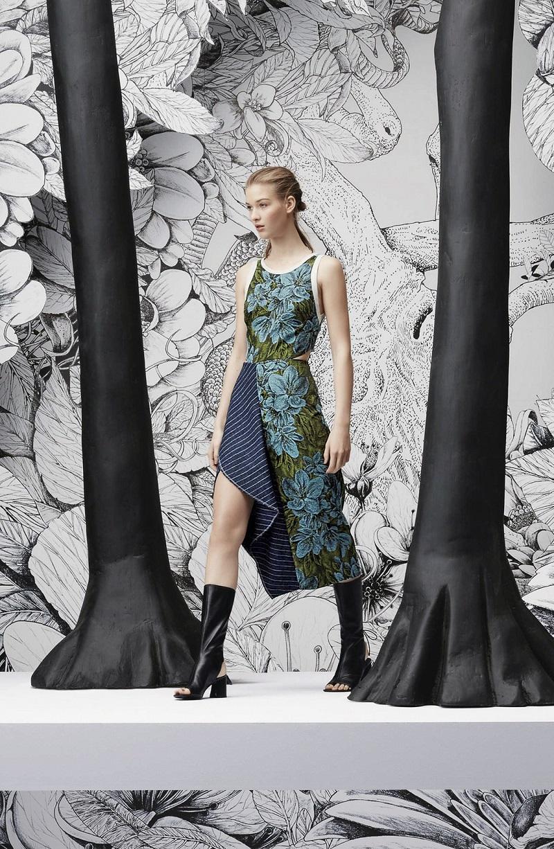 3.1 Phillip Lim Side Cutout Ruffle Floral Jacquard Dress